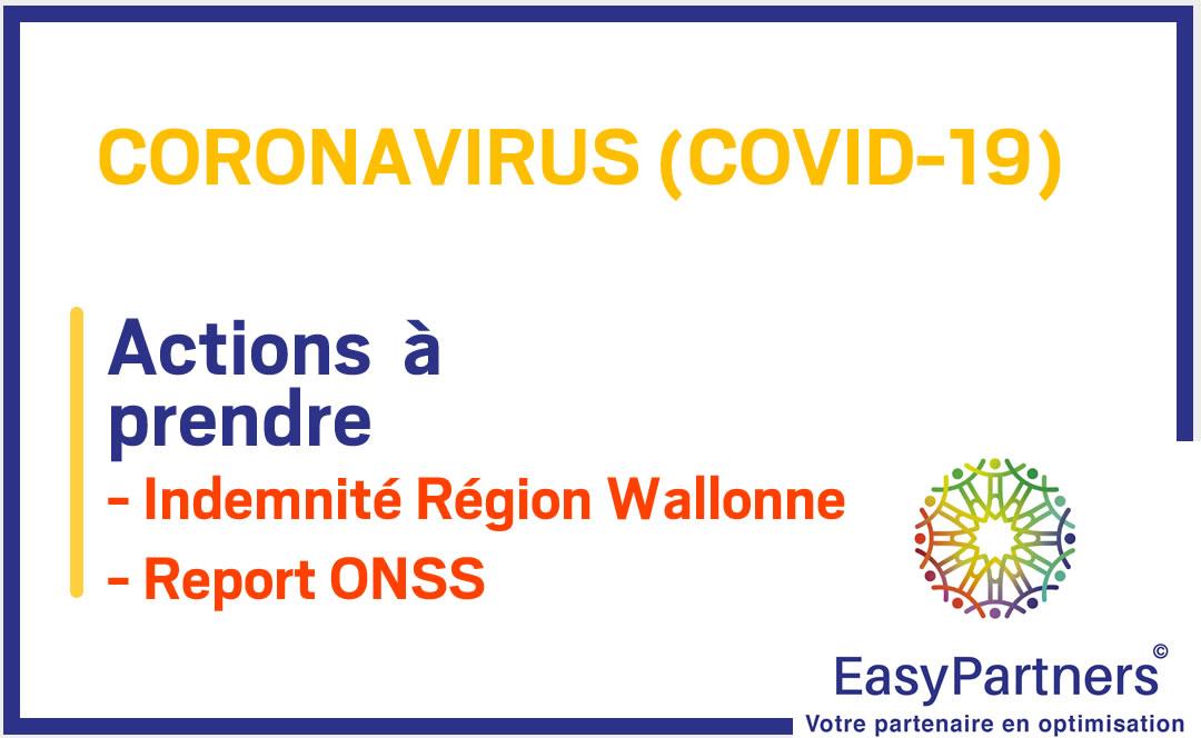 COVID-19 : Indemnité Région Wallonne et report de paiement ONSS